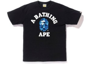 "BAPE - Camiseta A Bathing Ape Flame College ""Preto"" -USADO-"