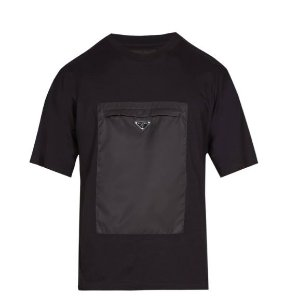 "PRADA - Camiseta Zipped Garbadine Pocket ""Preto"" -USADO-"