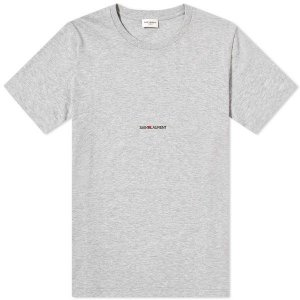 "SAINT LAURENT - Camiseta Archive Logo ""Cinza"" -USADO-"
