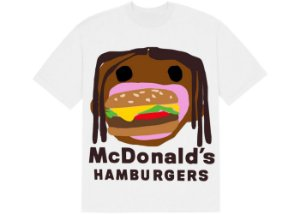 "TRAVIS SCOTT x CPFM - Camiseta 4 CJ Burger Mouth ""Branco"" -NOVO-"