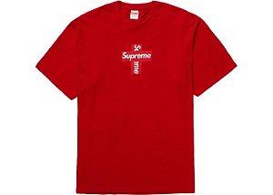 """SUPREME - Camiseta Box Logo Cross """"Vermelho"""" -NOVO-"""