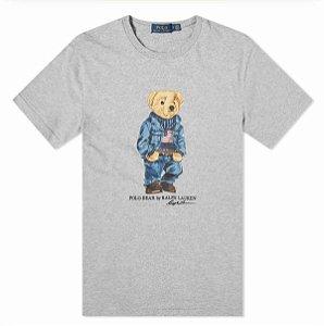"""POLO RALPH LAUREN - Camiseta Bear Usa Flag """"Cinza"""" -NOVO-"""