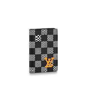 """LOUIS VUITTON - Porta Cartão Pocket Organizer Damier Distorted """"Preto/Branco"""" -NOVO-"""