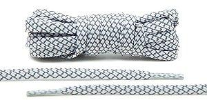 Cadarço Flat Refletivo - Branco e cinza - 125 cm
