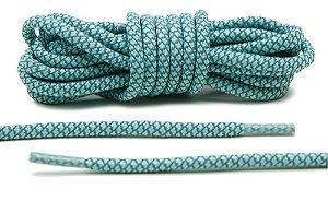 Cadarço Rope Refletivo - Tiffany e cinza - 125 cm