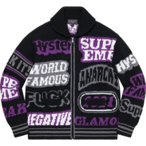 "ENCOMENDA - SUPREME x HYSTERIC GLAMOUR - Suéter Logos Zip Up ""Preto"" -NOVO-"
