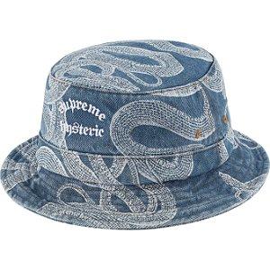 "ENCOMENDA - SUPREME x HYSTERIC GLAMOUR - Chapéu Bucket Snake Denim Crusher ""Azul"" -NOVO-"