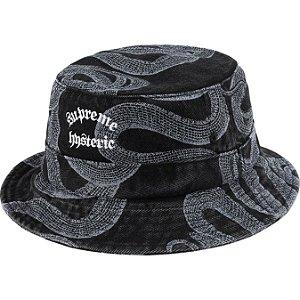 "ENCOMENDA - SUPREME x HYSTERIC GLAMOUR - Chapéu Bucket Snake Denim Crusher ""Preto"" -NOVO-"