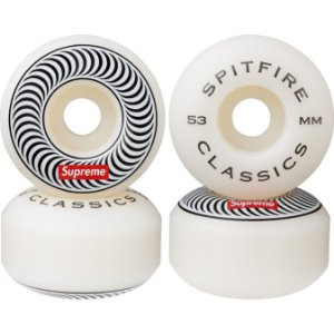 "SUPREME x SPITFIRE - Rodas Skate Classic 53mm ""Branco"" (Kit c/ 4) -NOVO-"