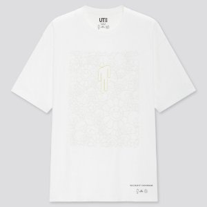 "UNIQLO x BILLIE EILISH x TAKASHI MURAKAMI - Camiseta Flower Skulls ""Branco"" -NOVO-"