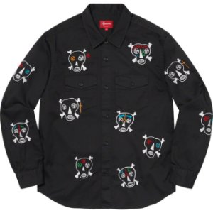 "ENCOMENDA - SUPREME x CLAYTON PATTERSON - Camisa Skulls Embroidered Work Shirt ""Preto"" -NOVO-"