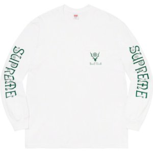 "ENCOMENDA - SUPREME x SOUTH2 WEST8 - Camiseta Manga Longa Pocket ""Branco"" -NOVO-"