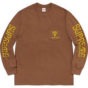 "ENCOMENDA - SUPREME x SOUTH2 WEST8 - Camiseta Manga Longa Pocket ""Marrom"" -NOVO-"