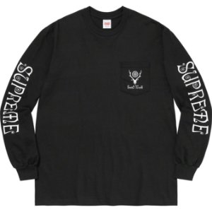 "ENCOMENDA - SUPREME x SOUTH2 WEST8 - Camiseta Manga Longa Pocket ""Preto"" -NOVO-"
