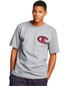 "CHAMPION - Camiseta Logo Patch C ""Cinza"" -NOVO-"