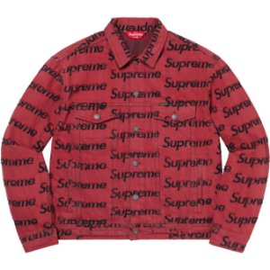 """ENCOMENDA - SUPREME - Jaqueta Jeans Trucker Frayed Logos """"Vermelho"""" -NOVO-"""