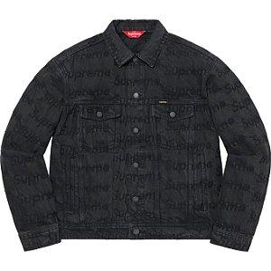 "ENCOMENDA - SUPREME - Jaqueta Jeans Trucker Frayed Logos ""Preto"" -NOVO-"