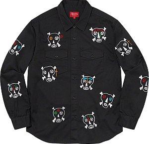 """!SUPREME x CLAYTON PATTERSON - Camisa Skull Embroidered """"Preto"""" -NOVO-"""
