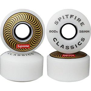 """!SUPREME x SPITFIRE - Rodas Skate Classic 58mm """"Dourado"""" (Kit c/ 4) -NOVO-"""