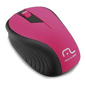 Mouse Multilaser Sem Fio 2.4ghz Preto E Rosa Usb Mo214