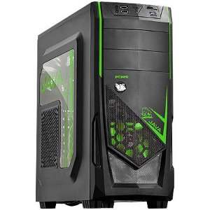 GABINETE MID-TOWER JAVA COM 1 FAN LED VERDE LATERAL EM ACRILICO - JAVAPTOVD2FCA - PCYES