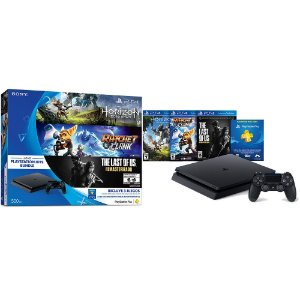 Playstation 4 Slim 500Gb - 3 Jogos (Horizon Zero Dawn, Ratchet & Clank, The Last of Us)
