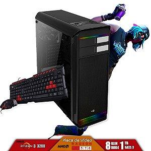 Computador Gamer V-Gamer Fizz - Ryzen 3 3200G - A320 - 8Gb DDR4 - 1Tb HD - Fonte 400w - RX 570 4gb - Gabinete