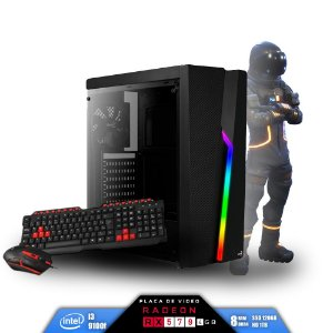 Computador Gamer V-Gamer Astrix - Intel i3 9100f -H310 - 8GB DDR4 - 1 Tb HD - SSD 120Gb - RX 570 4Gb - 430w - Gabinete Bolt