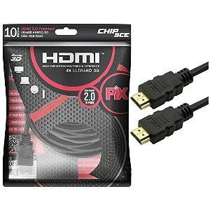 Cabo HDMI PIX de 10 Metros, 2.0, 4K, HDR - 018-2230