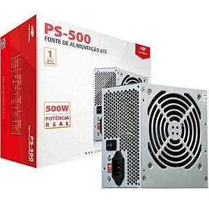 Fonte C3 Tech, 500w, S/ Cabo de Força - PS-500