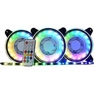 Kit de Fan Kmex, AFY1225, RGB, 3 Fans, c/Fita de Led, Rainbow, Controlador - 7898426837712