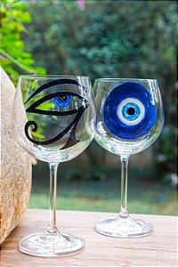 Jogo de Taças de Vidro Olho Grego e Olho Egípcio (6 peças) - Silvana Tinelli