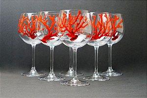 Jogo de Taças de Vidro Coral vermelho (6 peças) - Silvana Tinelli