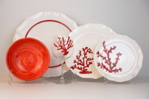 Jogo de Jantar e Taças de Vidro Coral Vermelho - Silvana Tinelli