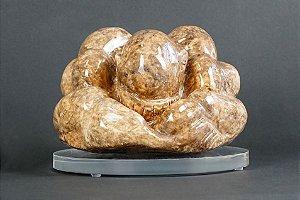 Escultura Buda Força e Humildade com suporte de acrílico 2 - Silvana Tinelli