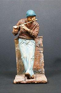 Escultura de cerâmica O flautista - Arley Lopes