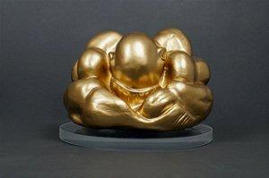 Escultura Buda, Força e Humildade Dourado com suporte de acrílico  - Silvana Tinelli
