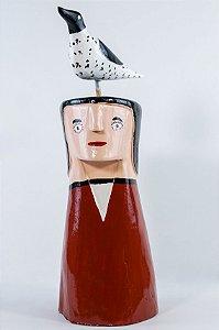 Escultura de madeira Homem com Pássaro na Cabeça 1 - Cicero