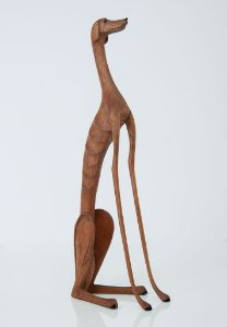 Escultura de madeira Cão sentado olhando para frente - Marcos Paulo Lau da Costa