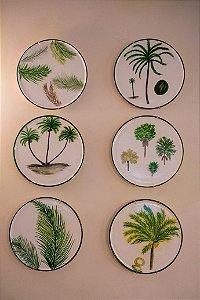 Conjunto de pratos decorativo Palmeiras - Silvana Tinelli