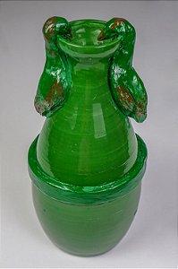 Vaso de cerâmica Aves Verde - Silvana Tinelli