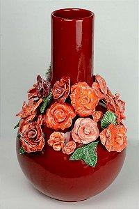 Vaso de cerâmica Flores vermelhas - Silvana Tinelli