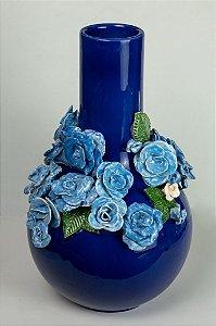 Vaso de cerâmica Flores azuis - Silvana Tinelli