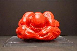 Escultura de cerâmica Buda Força e Humildade com suporte de acrílico - Silvana Tinelli