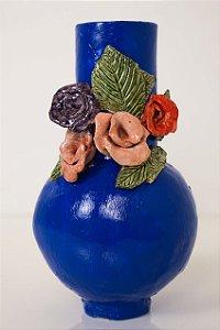 Vaso de cerâmica Flores coloridas - Silvana Tinelli