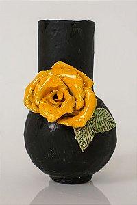 Vaso de cerâmica Flor amarela - Silvana Tinelli