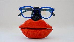 Suporte para óculos de terracota Preto com boca vermelha - Walter Cabral