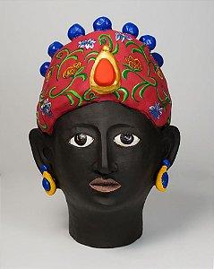 Vaso de terracota em formato de cabeça Turbante Vermelho - Silvana Tinelli
