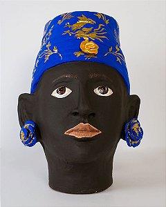 Vaso de terracota Testa di Moro Turbante Azul - Silvana Tinelli