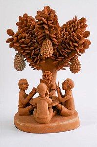 Escultura de terracota Jogando Cartas Debaixo da Jaqueira - Sil da Capela